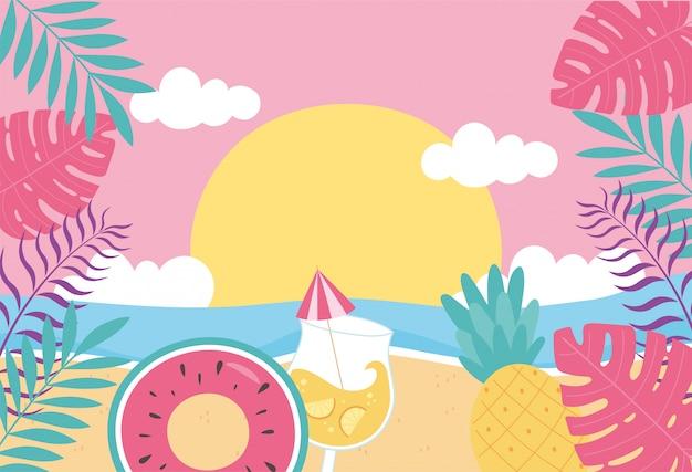 Hola verano, hojas tropicales follaje mar playa flotador cóctel puesta de sol ilustración