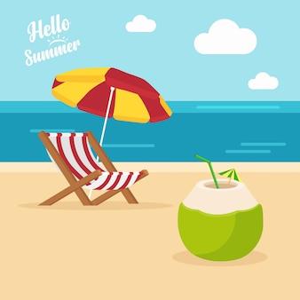 Hola verano con una ilustración de hielo fresco de coco y una playa con sombrillas y sillas de playa