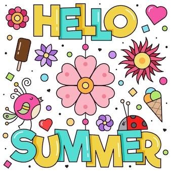 Hola verano. ilustracion vectorial