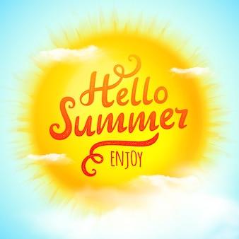 Hola verano, inscripción tipográfica en sol con nubes. ilustración