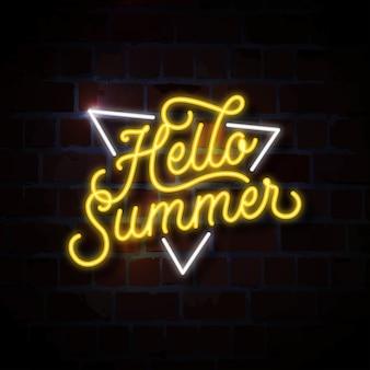 Hola verano letrero de neón ilustración