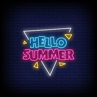 Hola verano letreros de neón estilo texto