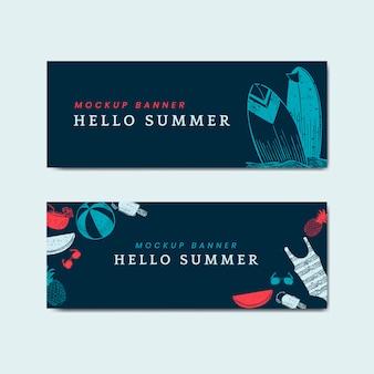 Hola verano maqueta banners vector conjunto