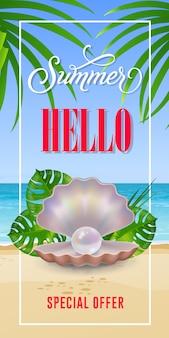 Hola verano oferta especial letras en marco con playa de mar y concha.