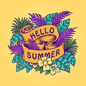Hola verano, pancarta de hojas tropicales con cintas