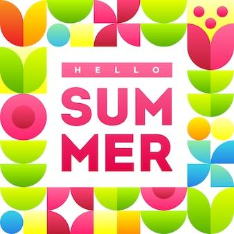 Hola verano. plantilla de banner con texto y elegante marco con flores abstractas.