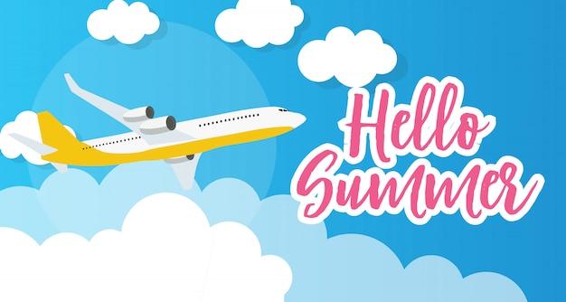 Hola verano plantilla de fondo con avión. ilustración vectorial