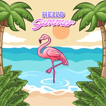 Hola verano con playa y flamingo