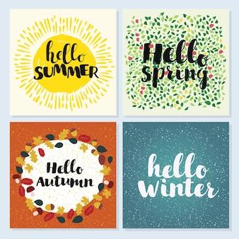 Hola verano primavera invierno y otoño, conjunto de tarjetas de felicitación.