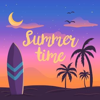 Hola verano con puesta de sol en la playa