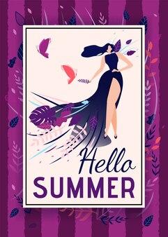 Hola verano saludo texto con cartel de mujer elegante