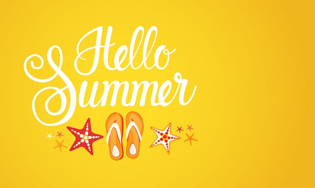 Hola verano temporada texto banner resumen fondo amarillo