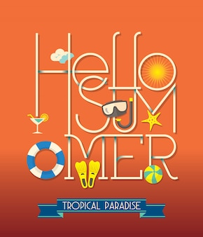 Hola verano tipografía ilustración