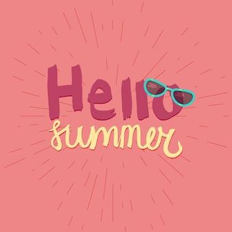 Hola verano. tipográfico vacaciones y viajes cartel acuarela con gafas de sol geniales. vect