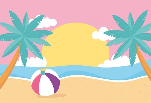 Hola verano, tropical deja follaje palmeras pelota de playa mar puesta de sol ilustración