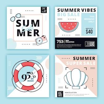 Hola verano venta instagram post set