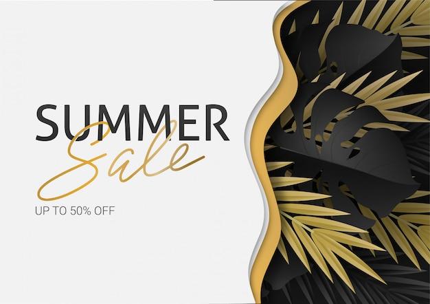 Hola verano, verano. el cartel de texto en el contexto de las plantas tropicales de oro. hojas de palmera, hojas de la selva y letras escritas a mano. el cartel a la venta y un cartel publicitario.