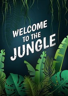 Hola verano, verano el póster de texto sobre el fondo de plantas tropicales.