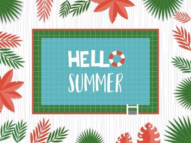 Hola verano, vista superior piscina vector