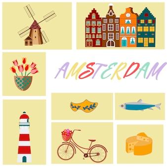 Holanda viaja cultural y símbolos turísticos marco con tulipanes zuecos de madera y molinos de viento