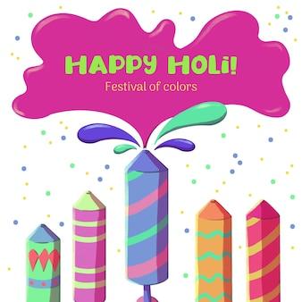 Holi festival acuarela coloridos fuegos artificiales