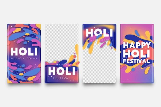 Holi festival colección de historias de instagram con fondo transparente
