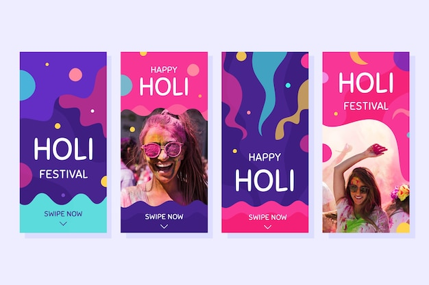 Holi festival colección de historias de instagram