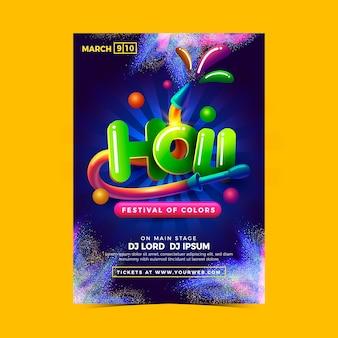 Holi festival de colores con mano colorida