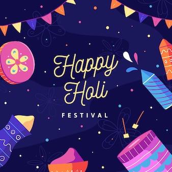 Holi festival dibujado a mano con guirnaldas y fuegos artificiales