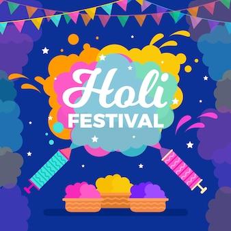 Holi festival diseño plano de papel tapiz