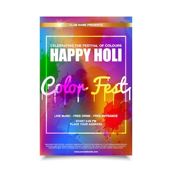 Holi festival flyer design