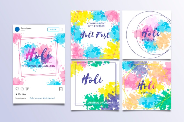 Holi festival instagram post collection template