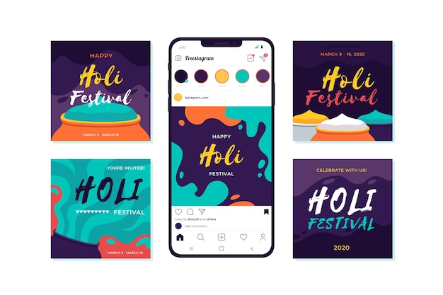 Holi festival instagram post collection