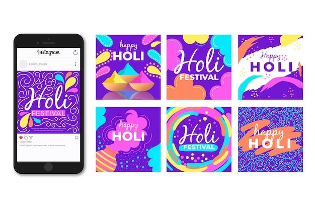 Holi festival instagram post concept