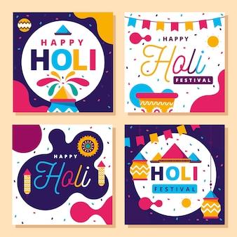 Holi festival instagram post set