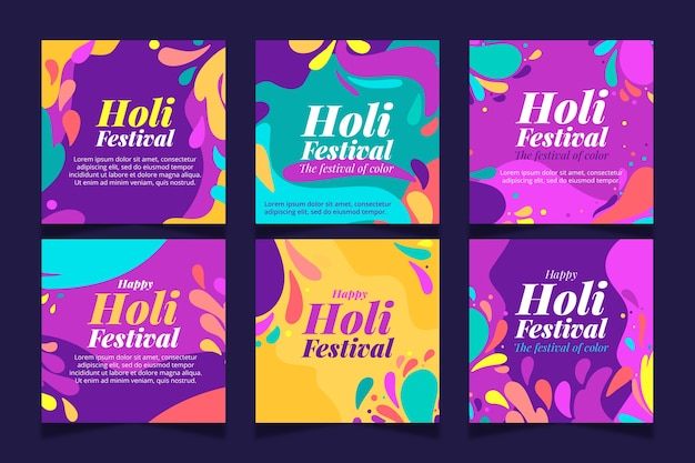Holi festival instagram posts set