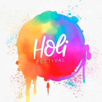 Holi festival pintura de acuarela destellos coloridos