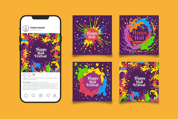 Holi festival post collection para instagram