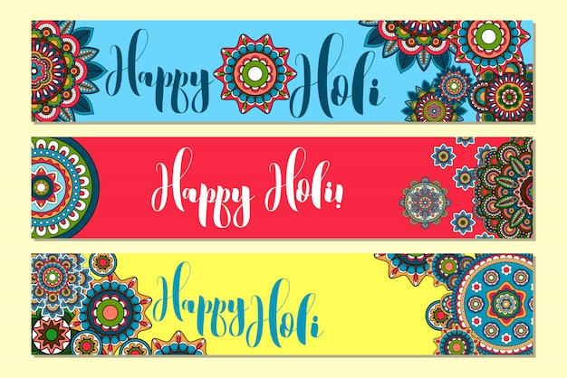 Holi holiday banners horizontales