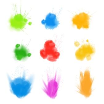 Holi realista, festival de colores, conjunto de nubes de polvo. ilustración vectorial