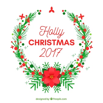 Holly christmas 2017 fondo con una corona