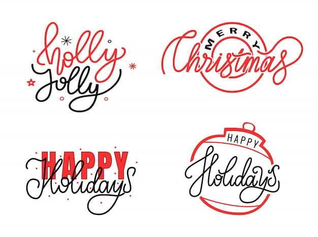Holly jolly, juego de tarjetas merry christmas