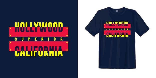 Hollywood california tipografía superior camiseta gráfica diseño de ropa para imprimir