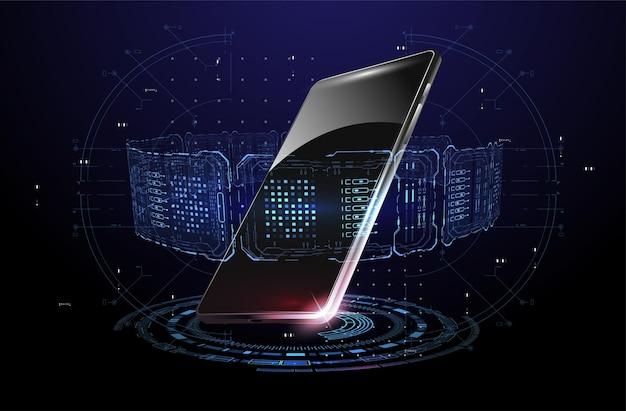 Holograma de elementos de smartphone y hud con teléfono móvil