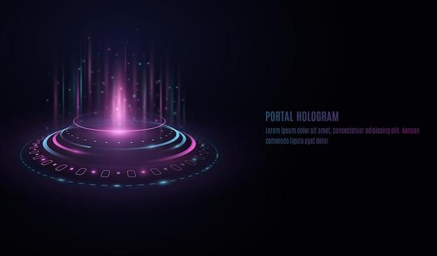 Holograma de portal futurista con elementos de la interfaz hud sobre fondo transparente.