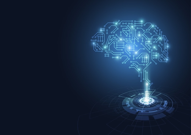 Hologramas cerebro tecnológico. placa de circuito abstracta