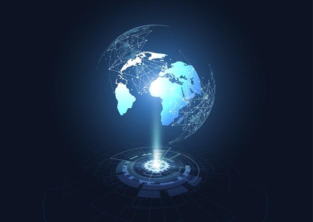 Hologramas tecnológicos de conexión a la red global.