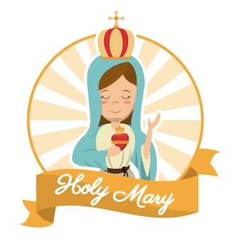 Holy mary, imagen de espíritu de creencia de corazón sagrado