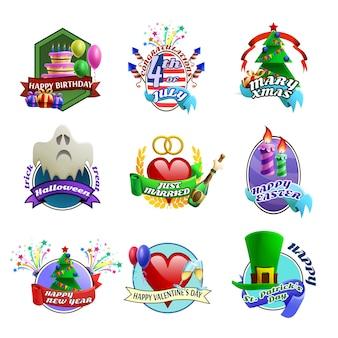 Holydays celebrations emblems collection