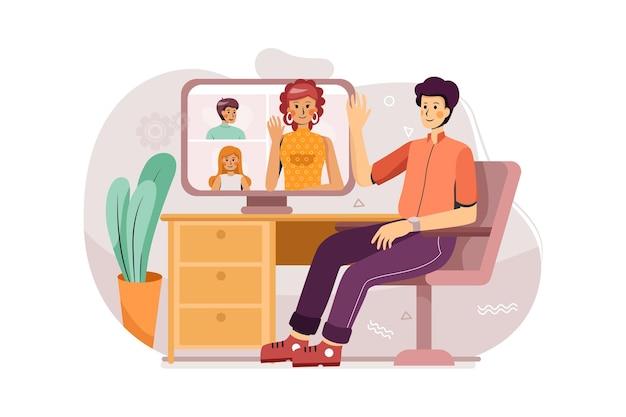 Un hombre abre la reunión en línea con su equipo en el concepto de ilustración de casa